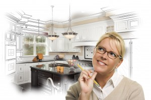 Dawsonville, GA Creative Woman With Pencil Over Custom Kitchen Design Drawing and Photo Combination on White.