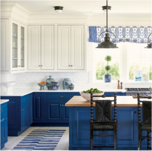 kitchen-design-in-dawsonville -ga-cobalt-blue-base-cabinets-ivory-top-cabinets-butcher-block-island